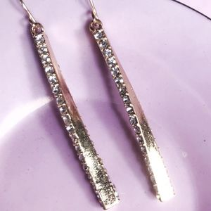GOLD PAVE DROP STATEMENT EARRINGS